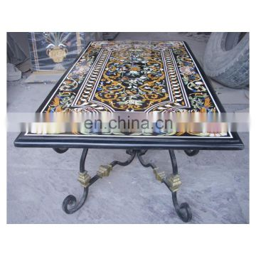 Exporter Stone Indian Marble Table Top With Iron Stand