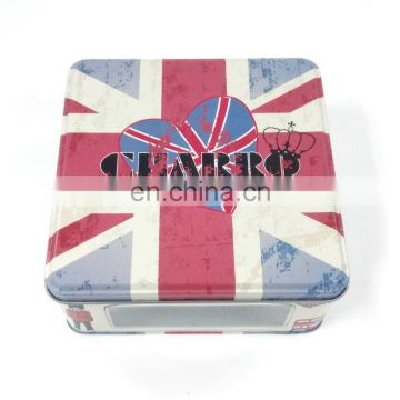 Matte varnished flags pattern pierced bottom present tin box