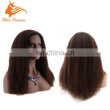 Factory Promotion Price High Quality Unprocessed Virgin Human Hair Yaki Lace Front Full Lace Wig For Black Women With Baby Hair