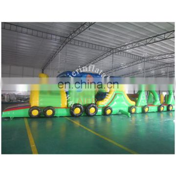 green garden train inflatable obstacle course toy for kids/inflatable obstacle adults