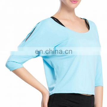 Lady yoga half sleeve shirt breathable oversized t-shirt for women