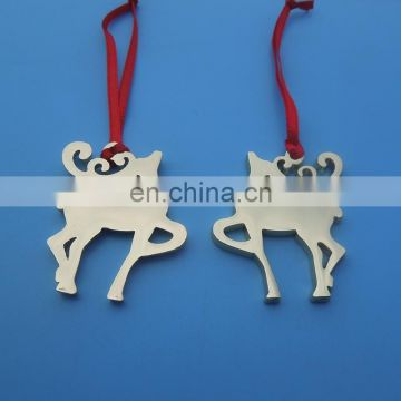 New Product Christmas Xmas Tree Metal Reindeer Hang Ornaments Gold