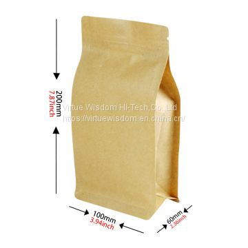 Eco Friendly Laminated Foil Lined Kraft Paper Block Bottom Pouch With Zipper For Rice Packaging Bags