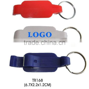 Hot design customized logo plastic beer bottle opener keychain