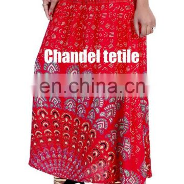 Indian Mandala Printed Skirt and Dress Stretch Waist Ethnic Casual Skirt Bohemian Women skirt wrap New Women Skirt Rayon Teal