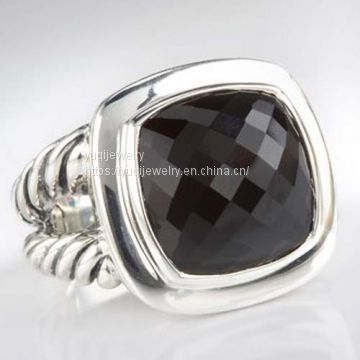 Sterling Silver Jewelry 14mm Black Onyx Albion Ring(R-089)