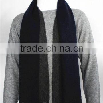 Navy and Grey Double Face Wool Scarf