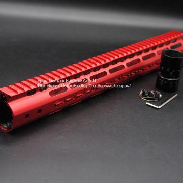 Red NSR 15 Inch Free Float KeyMod AR15 Handguard with Rail