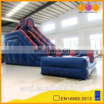 AOQI with free EN14960 certificate inflatable bouncing water slide high 0.55mm pvc tarpaulin inflatable slide in 2016