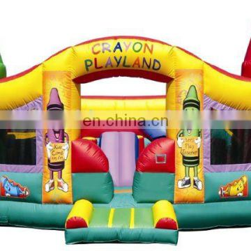 2011 amusement park inflatable bouncy castle, crayon inflatable castle