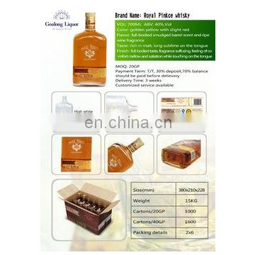 whisky supply Bottle Packed Alcoholic Drinks Blended corn Whisky with competitice price