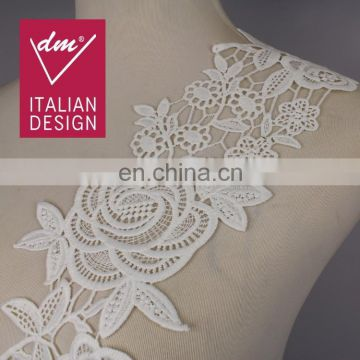 Fashion elegant design white flower embroidery french lace