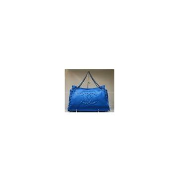Chanel 35948 pearl cowhide leather bag blue