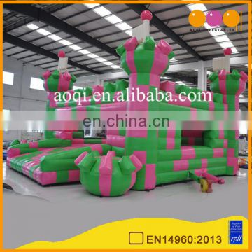 AOQI new style cheap Color block bouncy castle inflatable commercial bounce house for promotion