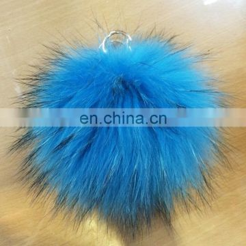 Wholesale China fur fluffy raccoon fur bobble pendant key chain