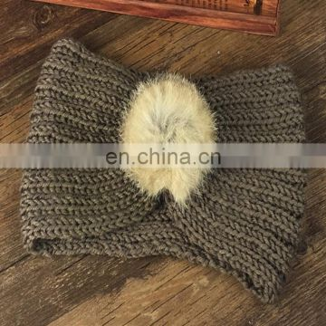 Rabbit fur ball headband women knitted headband fur fashion accessory