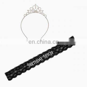 Birthday decoration kit Birthday Bitch black laced sash tiara headband