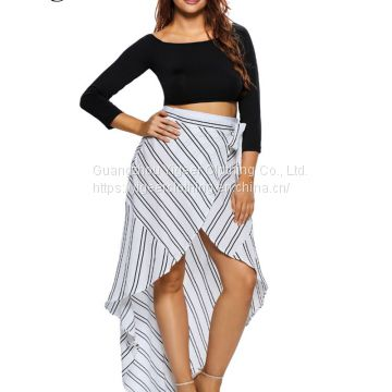 High Waist Striped Bandage Irregular Up and Down Splicing Skirt
