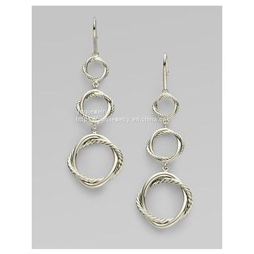 Sterling Silver Round Link Drop Earrings(E-099)