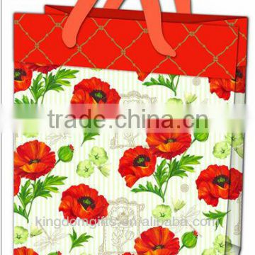 Red Flowers Art Paper Shopping Bags