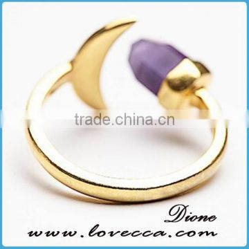 2016 New Popular fashion synthetic stone gold ring