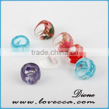 Handmade fashion resin jewelry resin flower ring wih gold foil , silver flakes resin ring