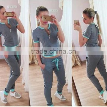 2016 Hot Sale spring style sweat shirt Print tracksuit women Long Pants Pullover Tops Womens set Women Sport Suits