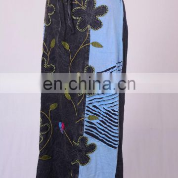 Stylish Razor Cut Embroidered Floral Patches & Print Blue Grey Maxi Wrap Around Summer Skirt HHCS 115 B