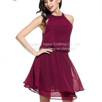 Sleeveless Pure Color O-neck Midi Chiffon Dress