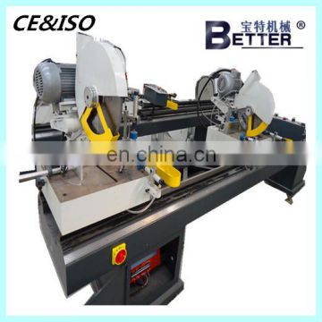 Double-head mitre saw for PVC window profile cutting