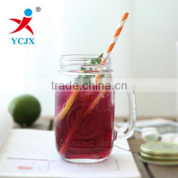 500ML Transparent Standard Glass Mason Jar with Handle and Straw