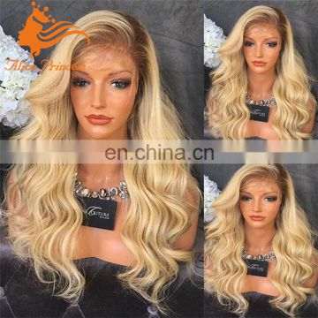Blonde Full Lace Human Hair Wigs For White Women 130 Density Virgin Brazilian ombre 613 Blonde Lace Front Wig Body