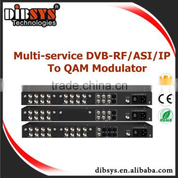digital tv broadcasting equipment 8 DVB-C/S/S2 FTA Tuner + 6 ASI input ports->Four QAM digital rf modulator