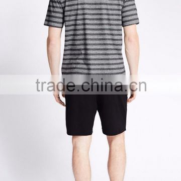 Summer Cool Soft Short Striped Men's Cotton Fabric Pajama Set