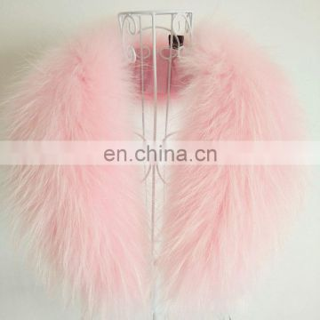 Pink whole raccoon fur fluffy real fur collar decoration winter collar