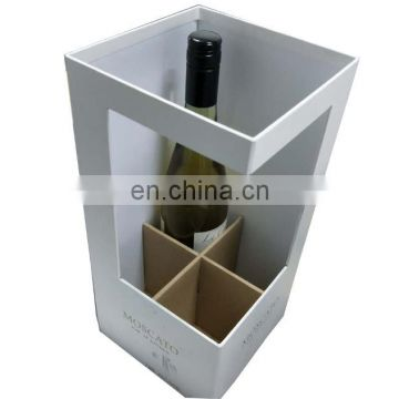 New Design Cardboard Gift Wine Boxes With Clear Plastic Winder