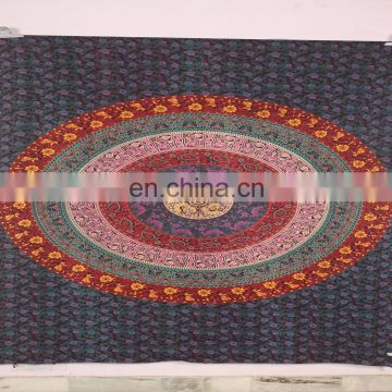 Bohemian Mandala Feather Tapestry Rectangle Cotton Print Hand Wash Ethnic Wall Hanging