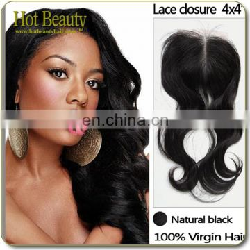 Large Stock Size 4X4 Virgin Brazilian Bundles And Silk Base Closure virgin hair silk top closure lace frontal