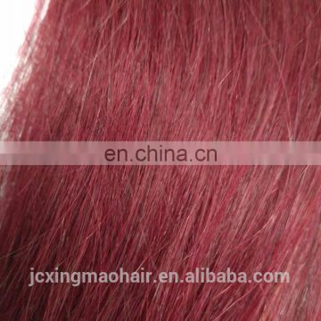 Factory wholesale price 100% human hair tangle free burgundy colored weave hair