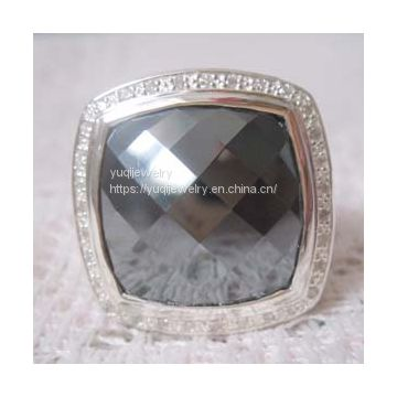 Silver Jewelry 20mm Albion Ring with Hematite and CZ's(R-209)