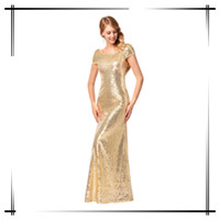 Stunning Bling Gold Sequin Women Long Evening Dress Party Dress