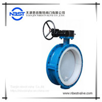 DI disc PTFE lined PTFE seat worm gear handwheel flange butterfly valve DN800