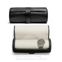 Handmade leather watch roll box for holding watches and bracelet travel cylinder case with embossed logo